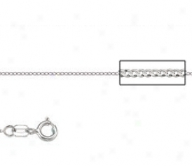 Platinum 18 Inch X .7 Mm Curb Chain Necklace