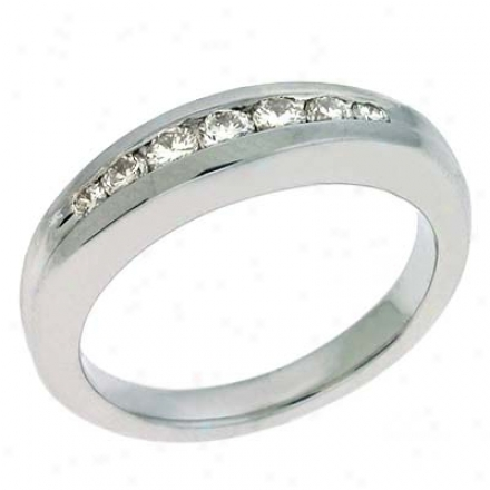 Platinum Channel-set Round 0.34 Ct Brilliant Band Ring