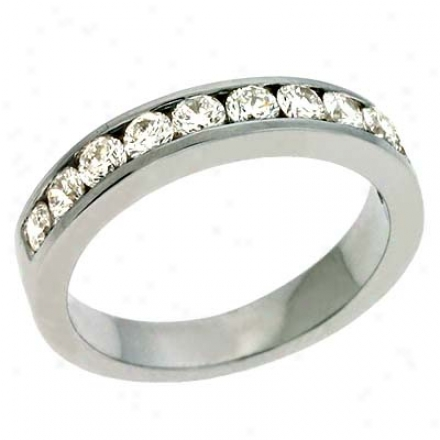Platinum Channel-set Round 0.74 Ct Diamond Band Ring