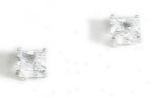 Princess-cut Cz Stud Earrings - Choice White-gold