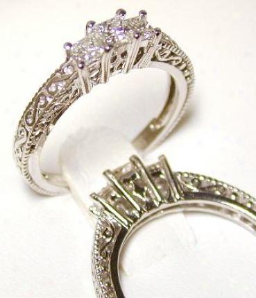 Princess Diamond 3 Stone Filgree Ring