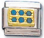Rectangle - Blue Round Cz Charm