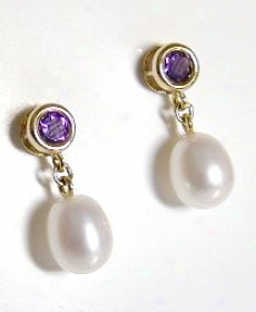 Riund Amethyst And Fresh Water Pearl Drop Earrlngs