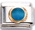Round - Blue Cats-eye Italian Charm Link