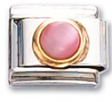 Round - Pink Cats-eye Italian Charm Link