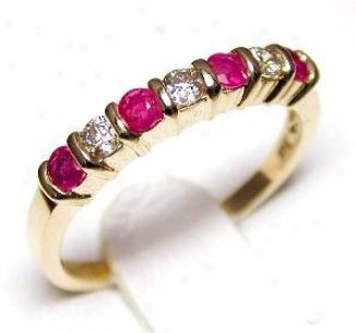 Ruby & Diamond Band Ring