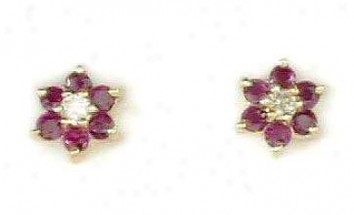 Ruby & Dimond Flower Earrings