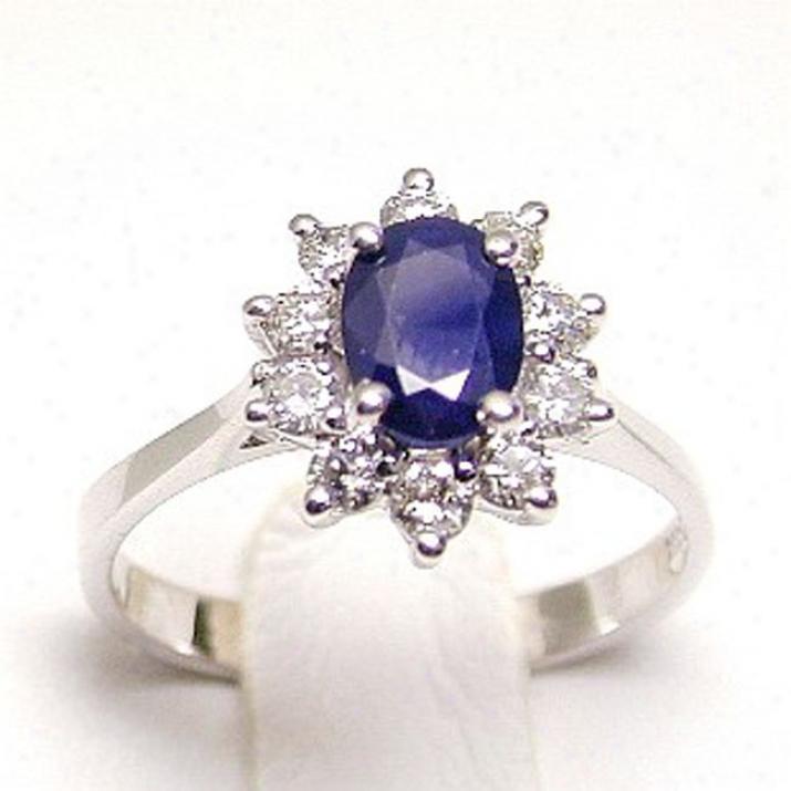 Sapphire & Diamond Lady Di Ring