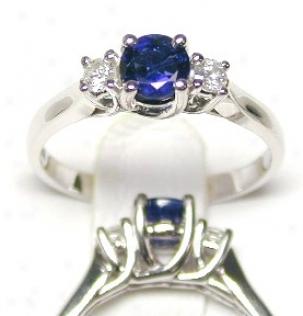 Sapphire & Diamond Round 3 Stone Ring