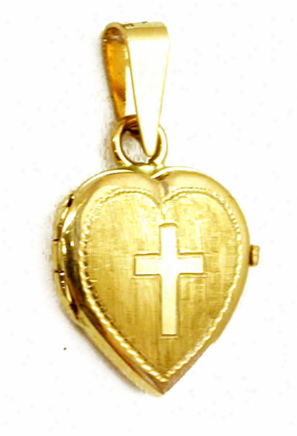Satin/polish Cross Heart Locket Pendant