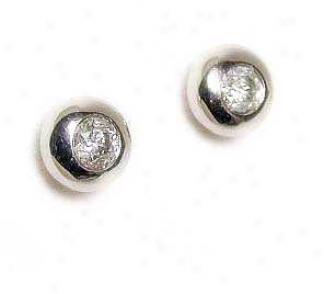 Solitaire Bezel-set Diamond Earrings