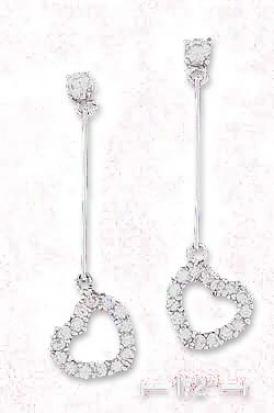 Ss 1 1/2 Inch Cz Post Earrings With Bar Open Cz Heart Dangle