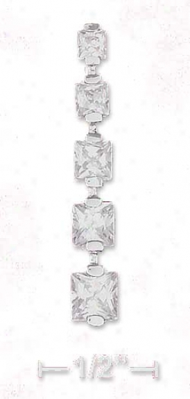 Ss 1 1/4 Inch Straight Line Pendant With 5 Czs From 3m-5mm