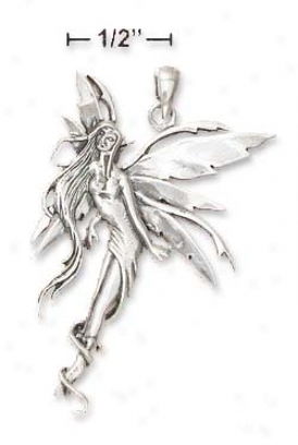 Ss 1 3/4 Inch Floating Fairy Pendant - Nickel Free