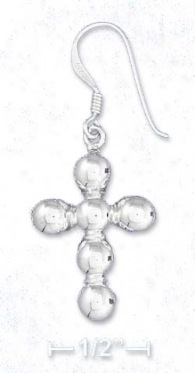 Ss 1 Inch Cross Earrings Comprised Of 6 Soldered 6mm Beads