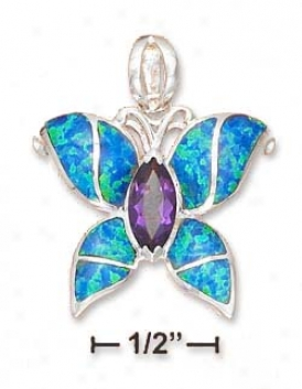 Ss 1 Inch Synt Blue Opal/amethyst Butterfly Peneant