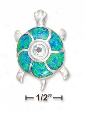 Ss 1 Inch Turtle Synthetic Blue Opal Shell Pendant