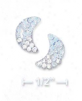 Ss 10mm Blue To White Crystal Moon Post Earrings