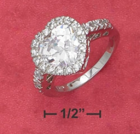 Ss 10mm Cz Heart Cz Border Sides In Filigree Setting Ring