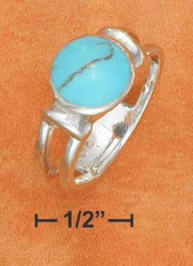 Ss 10mm Turquoise Ring 3/4 Split Shank Partial Solid Palm