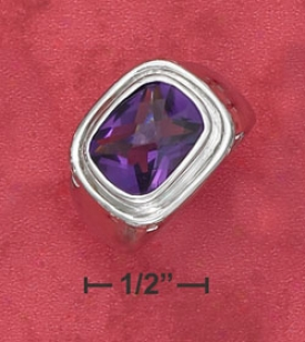 Ss 10x12mm Radiant Checkerboard Synthetic Amethyst Ring