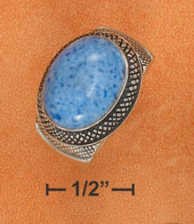 Ss 11x15mm Side Denim Lapis Ring Fine Lined Setting Shank