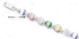 Ss 12-14 Inch Adj. Childrens Cats Eye Ss Bead Necklace