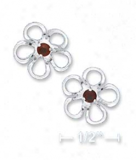 Ss 1/2 In. Fokwer Post Earrings With Synthetic Garnet Center