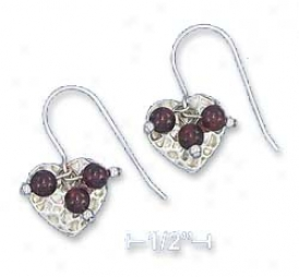 Ss 13mm Hammered Heart Earrings With 3mm Garnet Dangle Beads