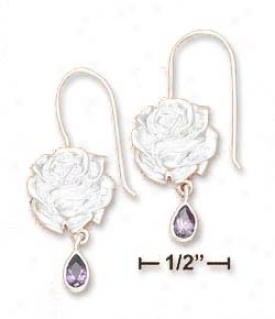 Ss 13mm Rose Earrings With 3x6mm Purple Cz Tear Dangle
