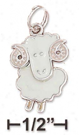 Ss 13x17mm Enamel Big Horn Sheep Charm Moveable Head Body