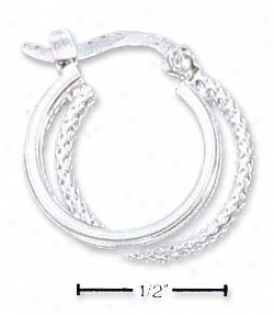 Sa 14mm Double Offset Textured Hoop French Lock Earrings