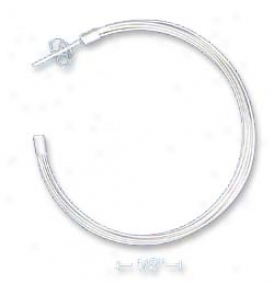 Ss 1.5 Inch Texturex Multi-strand 3/4 Post Hoop Earrings