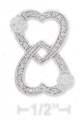 Ss 15mm Wide Pave Double Hearts Love Forever Pendant 4mm Czs