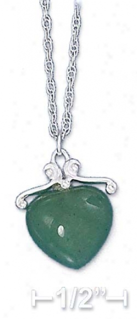 Ss 16-18 Inch Adj. Green Aventurine Heart Necklace