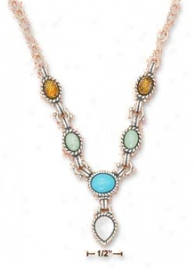 Ss 16-20 In Adj. Amber Turquoise Open Necklace With Mop Tear