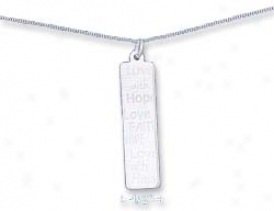 Ss 16 Inch Curb Chain With 11 X 40mm Love Faith Hope Charm