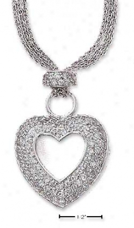 Ss 16 Inch Triple Run aground Necklace With Open Pave Cz Heart