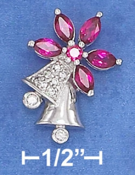 Ss 16 X 22mm Cz Bell Subdue by a ~ Witj Synthetic Ruby Flower Top