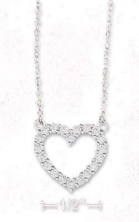 Ss 17 Inch Cable Chain Necklace 16mm Cz Open Heart