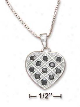 Ss 17m Crosshatch 17m Heart Pendant Sapphires 18i Box Chain