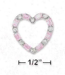 Ss 17mm Cz Courage Slide Pendant Alternating Clear Pink Czs