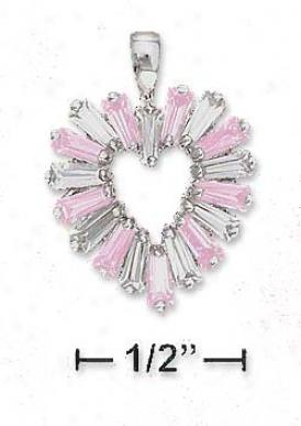 Ss 17mm Heart Pendant Alterjating Pink White Baguette Czs