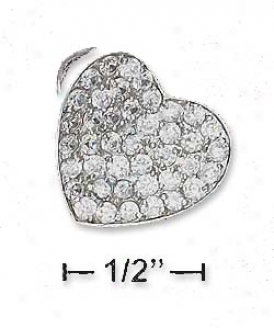 Ss 17mm Pave Cz Curled Heart Pendant (bail Upper Left Back)
