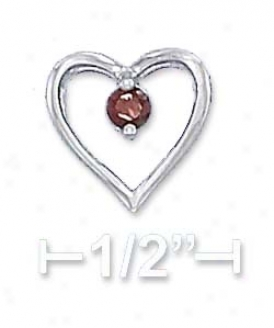Ss 18 Inch Cable Chain 11mm Begin Heart 3mm Garnet Necklace