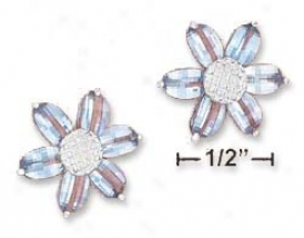 Ss 18mm Blue Cz Flower Checkerboard Cut Petals Post Earrings