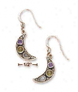 Ss 18mm Crescent Moon Amethyst Peridot Labradorite Earrings