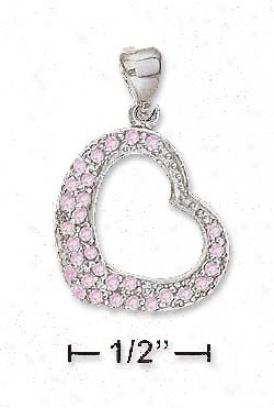 Ss 18mm Fat Bottom Opeh Heart Pink Pave Cz Pendant