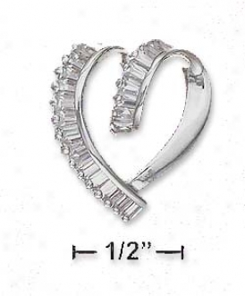 Ss 20mm Loop-de-loop Heart Glide Pendant With Cz Baguettes