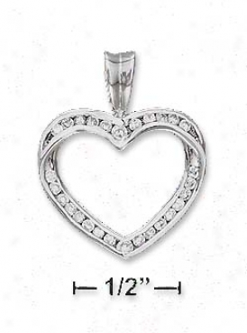 Ss 21mm Twisted Channel Set Cz Open Disposition Pendant